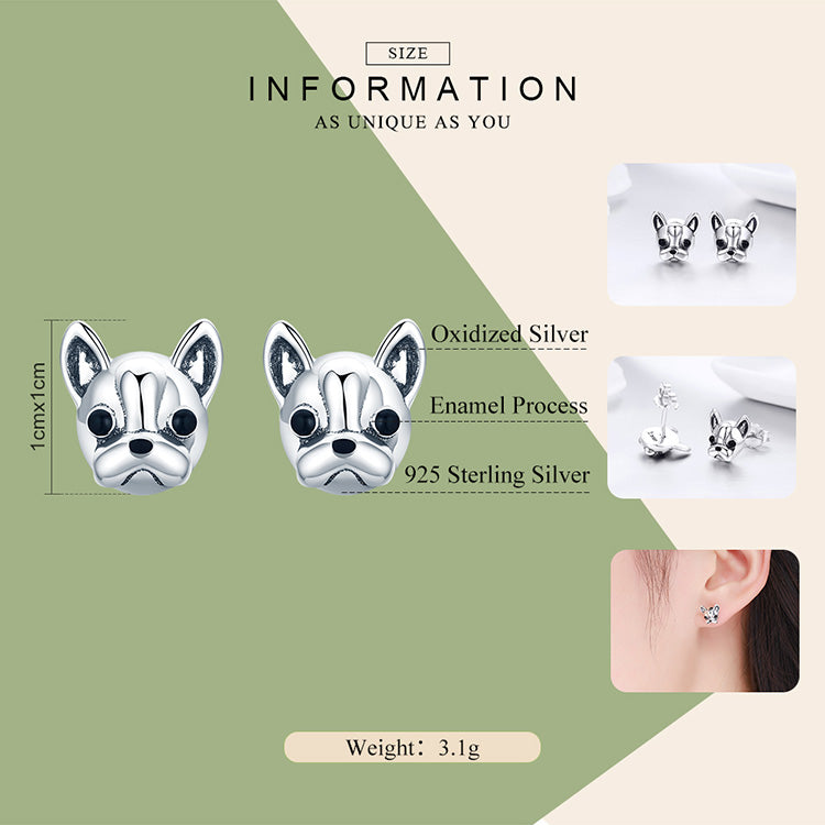 925 Sterling Silver French Bulldog Dog Small Stud Earrings For Women - onlyone