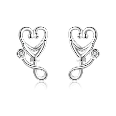925 Sterling Silver Stethoscope Jewelry Stud Earrings For Women Doctor Nurse Gift