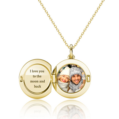 925 Sterling Silver Photo Locket Necklace Love You To The Moon And Back Necklace - onlyone