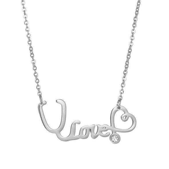 925 Sterling Silver White Angel Stethoscope Name Necklace - onlyone