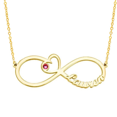 925 Sterling Silver Infinity Birthstone Heart Personalised Name Necklace Nameplate Necklace Gift for her