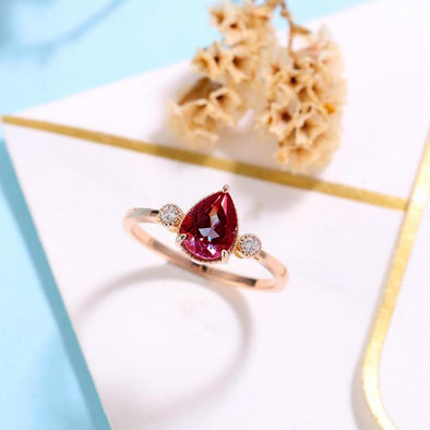 Vintage Garnet Engagement Ring Women Pear shaped Bridal Jewelry Milgrain Diamond Ring Unique Anniversary Gift for Her - onlyone