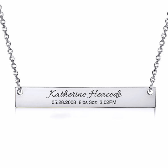 925 Sterling Silver Personalized Custom Name / Coordinate / Anniversary Date Engraved Bar Necklace - onlyone