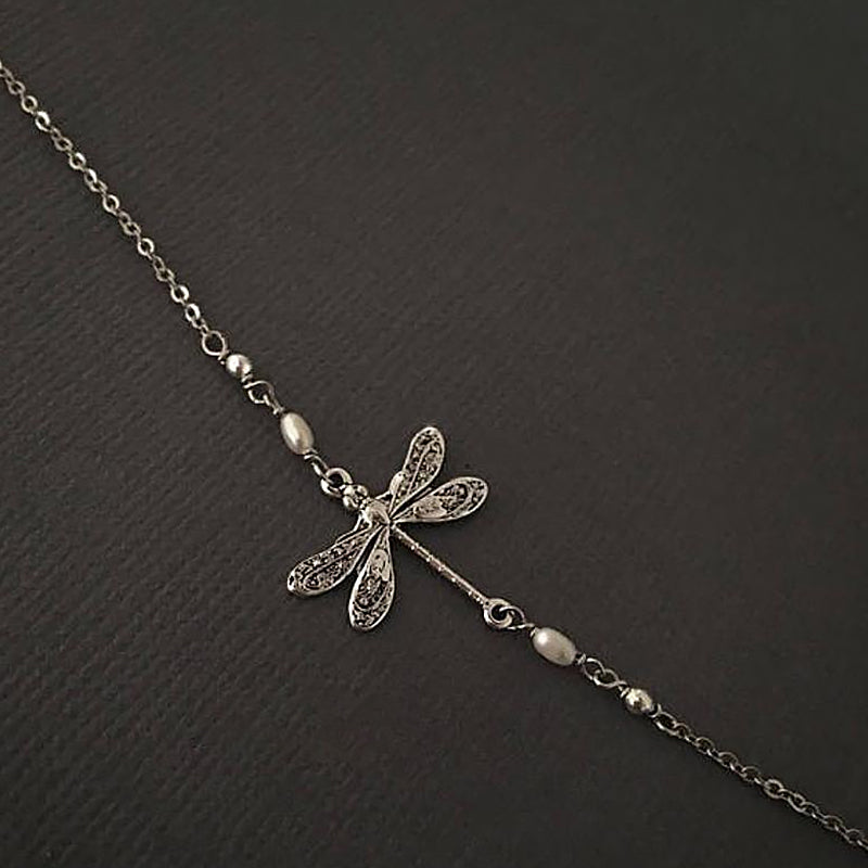 925 Sterling Silver Dragonfly Anklet - onlyone