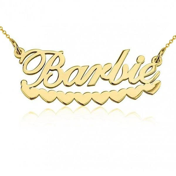 925 Sterling Silver Barbie Hearts Name Necklace Nameplate Necklace - onlyone
