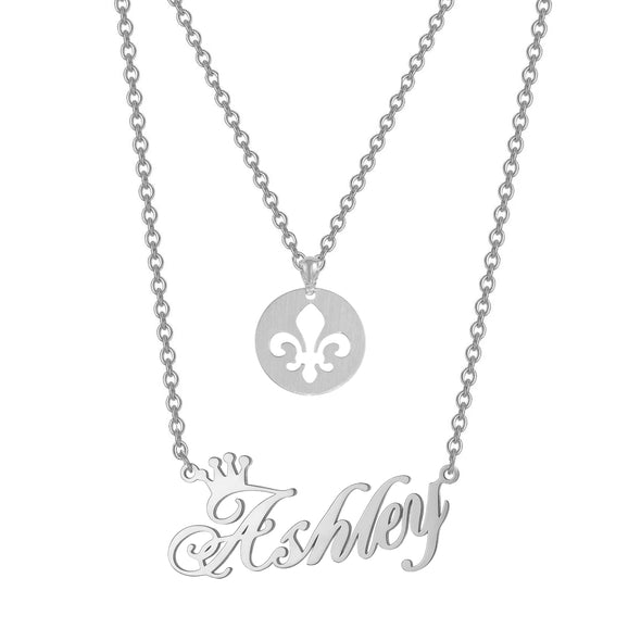 925 Sterling Silver Double Name Necklace Fleur De Lis Royal Lily Flower And Name Necklace - onlyone