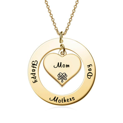 925 Sterling Silver Engraved Double Name Circle Necklace Nameplate Necklace Gift For Mom - onlyone