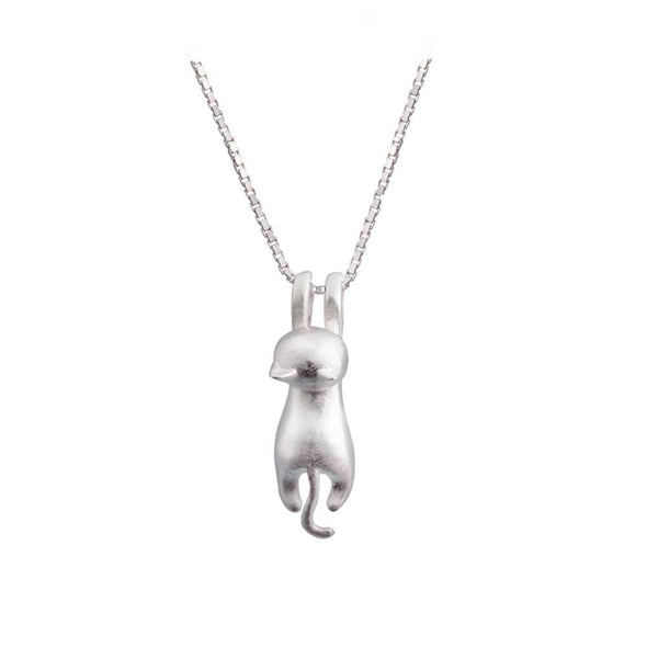 925 Sterling Silver Flying Cat Necklace Pendant - onlyone