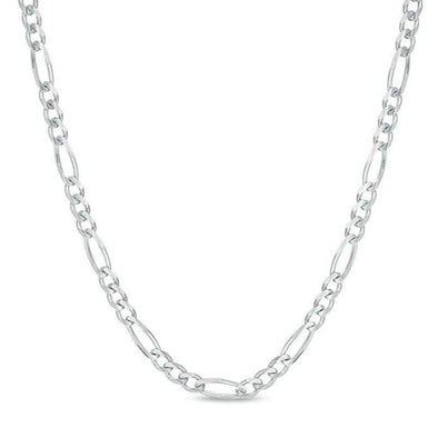 925 Sterling Silver Mens White Gold Chain Necklace Figaro Link Chain Necklace - onlyone