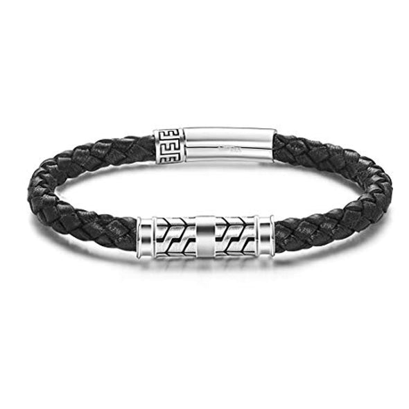 925 Sterling Silver Genuine Mens Leather Bracelet Braided Rope Energy Charm Push Button Locking Clasp, Father's Day Bracelet - onlyone