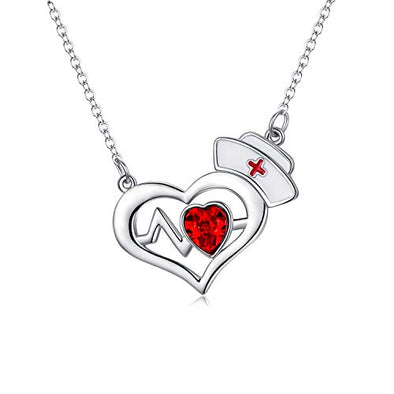 925 Silver White Angel Gift Series: Heart necklace with nurse hat - onlyone