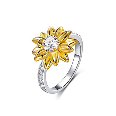 OnlyOne 925 Silver Golden Sunflower Ring with zirconia ring: Ⅱ - onlyone