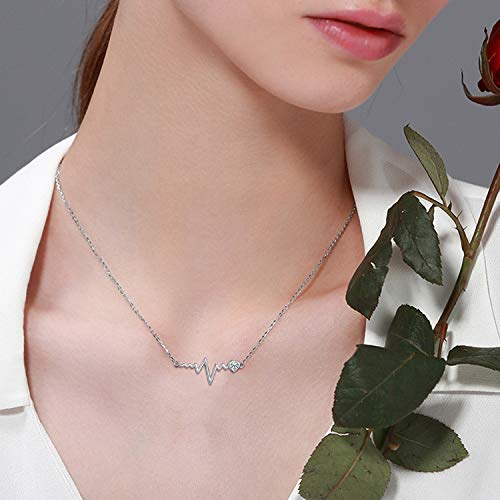 925 Silver White Angel Gift Series: Love Heartbeat Wave Necklace At First Sight - onlyone
