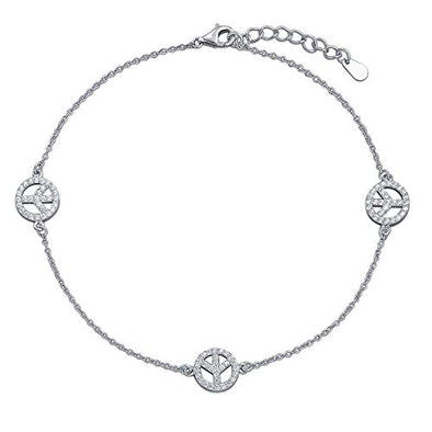 925 Sterling Silver Peace Symbol Anklet - onlyone