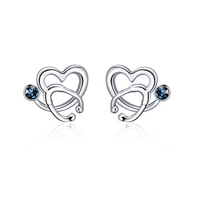 925 Sterling Silver White Angel Stethoscope Heart Stud Earrings Ⅰ - onlyone