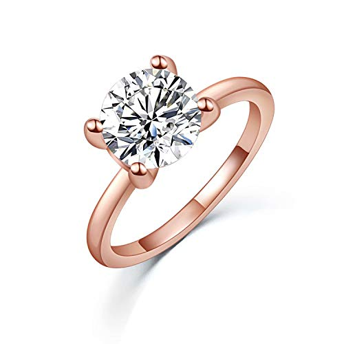 925 Sterling Silver Rose Gold Zirconia Crown Style Or Square Style Ring - onlyone
