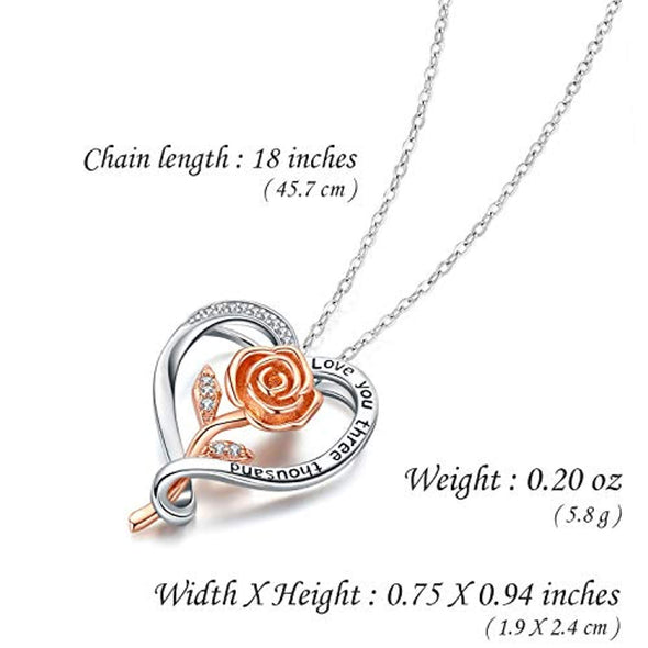 925 Sterling Silver Rose Gold Plated Flower Pendant Necklace - onlyone