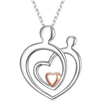 925 Sterling Silver Mother And Child Heart Necklace