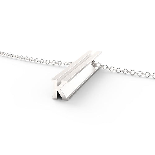 925 Sterling Silver 3D Vertical Initial Pendant Necklace - onlyone