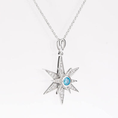 925 Sterling Silver Rotatable Cubic Diamond Hexagram Snowflake Pendant Necklace - onlyone