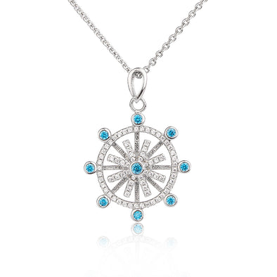 925 Sterling Silver Rotatable Cubic Diamond Snowflake Pendant Necklace - onlyone