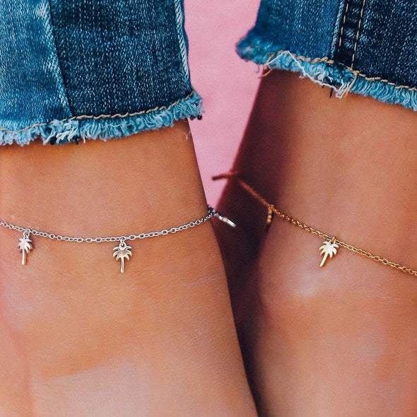 925 Sterling Silver Palm Anklet - onlyone
