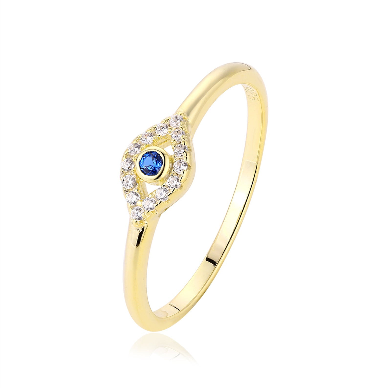 925 Sterling Silver Zirconia Evil Eye Ring - onlyone