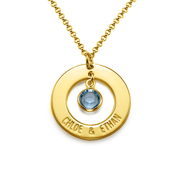 925 Sterling Silver Birthstone Engraved Circle Name Necklace -Yafeini® Design