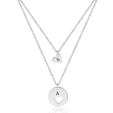 925 Sterling Silver Coin Engraved Initial Necklace - onlyone
