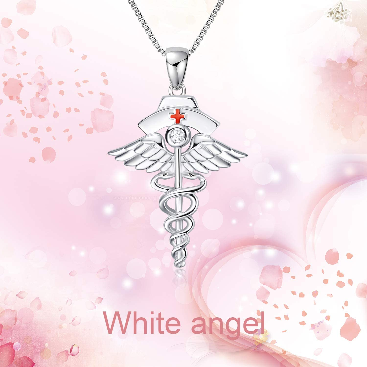 925 Sterling Silver Nurse Necklace Caduceus Angel Nursing Themed Pendant Necklace for Women Girls - onlyone