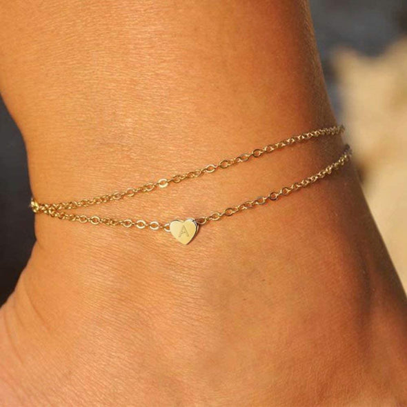 925 Sterling Silver Heart Initial Ankle Double Layered Anklet - onlyone