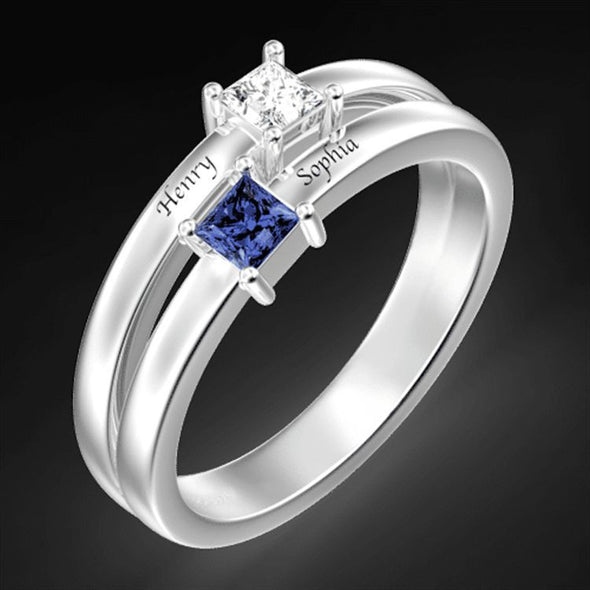 925 Sterling Silver Personalized Mothers Ring With 2 Simulated Birthstones, Couples Promise Rings - onlyone