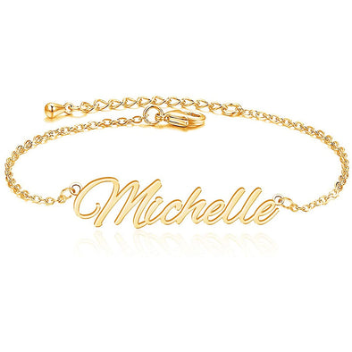 925 Sterling Silver Gold Anklet With Name, Personalized Name Anklet For Women - onlyone
