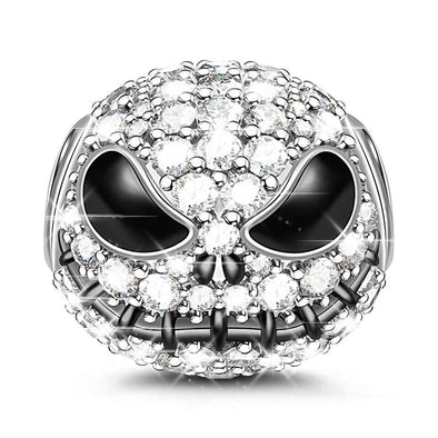 925 Sterling Silver Punpkin King Jack Skull Nightmare Before Christmas Charm Crystal Beads - onlyone