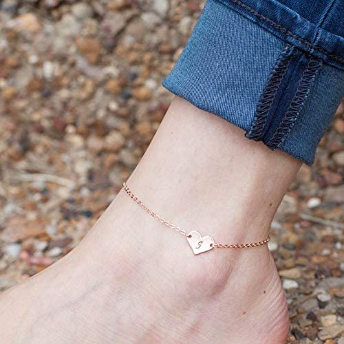 925 Sterling Silver Heart Shaped Initial Anklet - onlyone