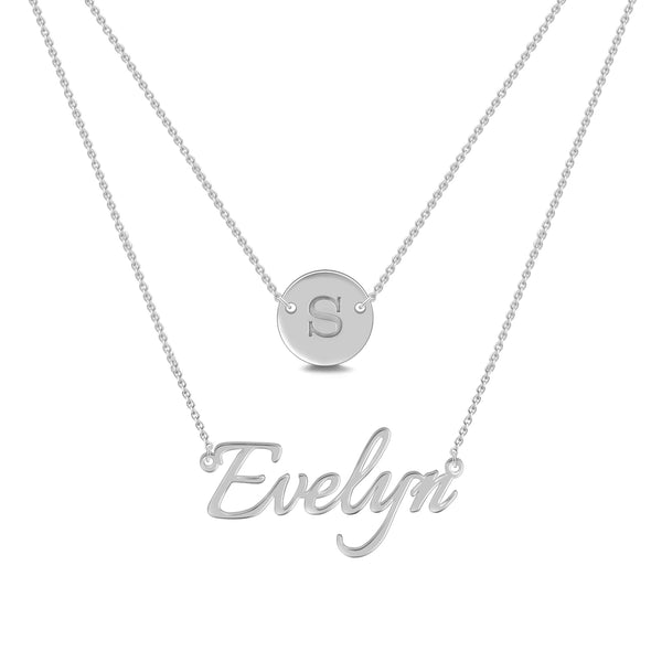 925 Sterling Silver Coin Name Double Layers Necklace, Nameplated Necklace - onlyone