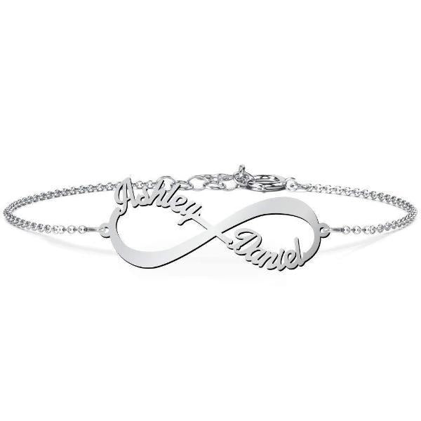 "Personalized Infinite Love Name Bracelet Length 6""7.5""-Personalized Bracelets-YAFEINI-Silver-yafeini-personalized-custom-jewelry"