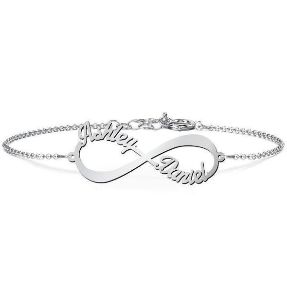 925 Sterling Silver Personalized Infinity Name Bracelet