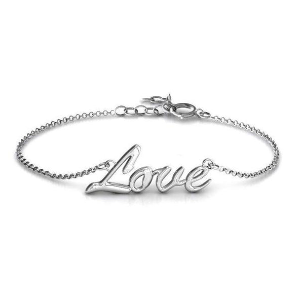 "925 Sterling Silver Personalized 'Love Spell' Classic Bracelet Length 6""-7.5"" - onlyone"
