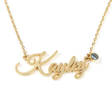925 Sterling Silver Personalized Name Necklace With Birthstone