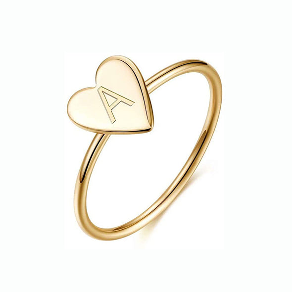 925 Sterling Silver Personalized Heart Ring 18K Gold Plated