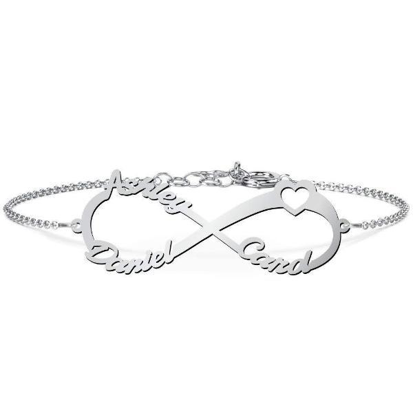 "925 Sterling Silver Personalized Infinity Bracelet Heart Length 6""-7.5"" - onlyone"