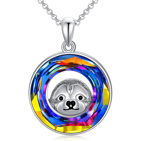 925 Sterling Silver Sloth Circle Necklace Pendant With Swarovski Crystals - onlyone