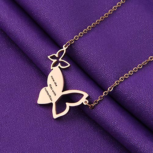 925 Silver Hollow Personalized Custom Butterfly Necklace - onlyone