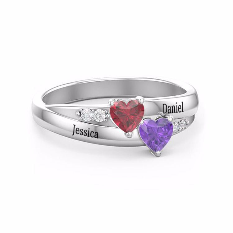 925 Sterling Silver Custome Simulated Birthstones Couples Name Ring for Women - onlyone
