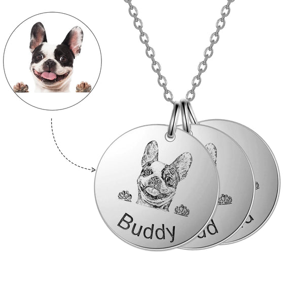 925 Sterling Silver 3 Pet Lithograph Pet Portrait Pet Paw Print Personalized Necklace Gift For Pet Lovers - onlyone