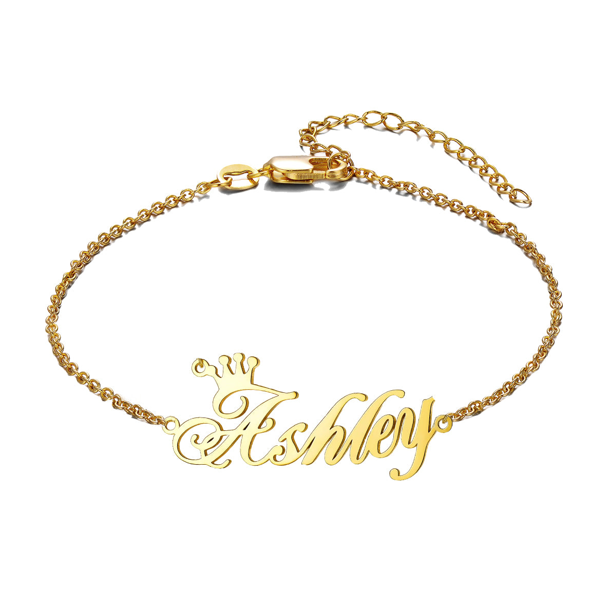 925 Sterling Silver Ashley Name Anklet With Crown, Gold Anklet With Name For Women - onlyone