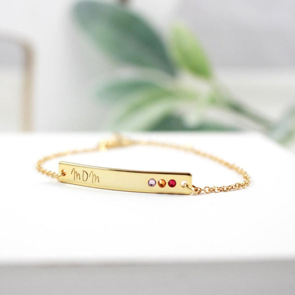 925 Sterling Silver Custom Bar Name Bracelet With Birthstone, Nameplated Necklace - onlyone