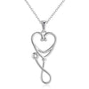 925 Sterling Silver Caduceus Angel Nursing Themed Stethoscope Pendant Necklace - onlyone