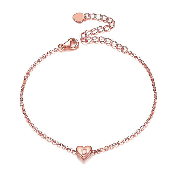925 Sterling Silver Heart Initial Anklet For Women - onlyone